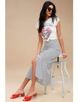 Dot To Trot Black And White Polka Dot Midi Skirt by Lulus