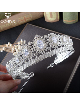 Cc Crowns And Tiaras Baroque Style Queen Luxury Shine Stone Wedding Hair Accessories For Women Hair Brides Jewellery Gift Hg771 by Ali Express