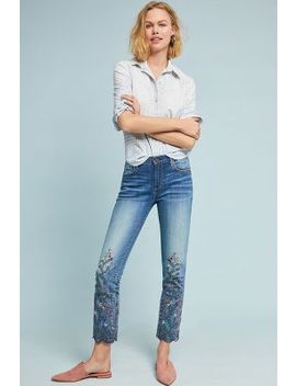 Driftwood Candace Mid Rise Embroidered Ankle Jeans by Driftwood