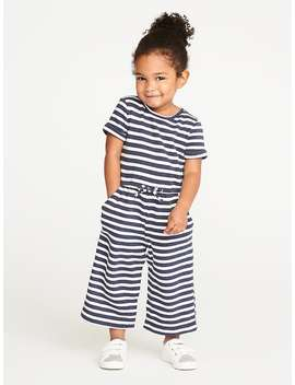 French Terry Wide Leg Jumpsuit For Toddler Girls by Old Navy