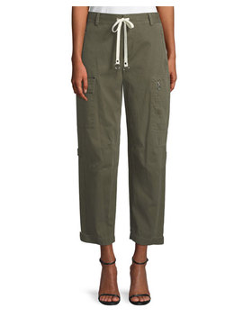 Garment Washed Twill Wide Leg Cargo Ankle Pants by T By Alexander Wang