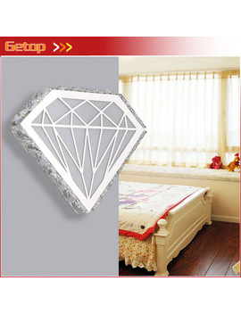 Modern Diamond Shape Crystal Wall Lamp Personality Acryl Stainless Steel Led Light Bedside Hotel Bedroom Corridor Parlor Lamp by Getop Weirc Store