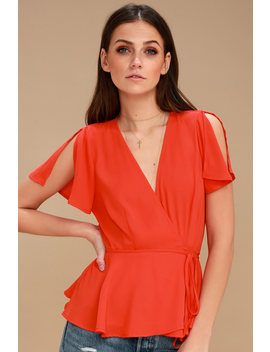 Think Chic Coral Red Peplum Wrap Top by Lulus