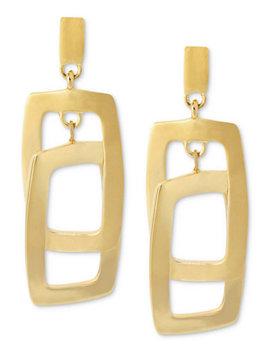 Earrings, Gold Tone Rectangle Link Drop Earrings by Kenneth Cole New York