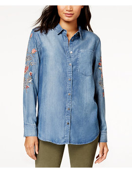 Cotton Cameron Embroidered Chambray Shirt by Free Heart