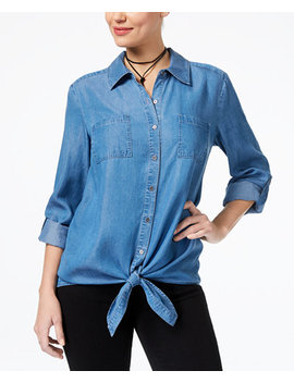 Petite Tie Hem Denim Shirt, Created For Macy's by Style & Co