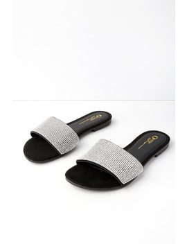 Quade Black Suede Rhinestone Slide Sandals by Lulu's