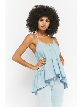 Chambray Ruffle Hem Cami by Forever 21