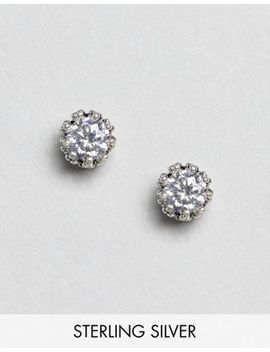 Kingsley Ryan Sterling Silver Rhinestone Crown Detail Stud Earrings by Kingsley Ryan