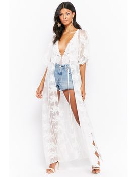 Sheer Floral Embroidered Duster Kimono by Forever 21