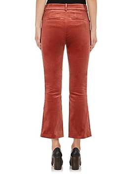 Cotton Blend Velvet Crop Flare Trousers by Frame