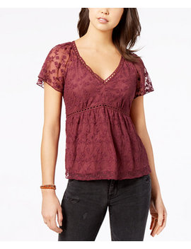 Juniors' Embroidered Lace Babydoll Top, Created For Macy's by American Rag