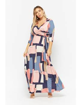 Plus Size Geo Surplice Maxi Dress by Forever 21