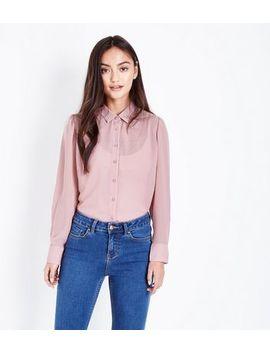 Petite Pale Pink Step Hem Chiffon Shirt by New Look