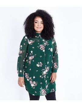 Curves Green Floral Print Longline Shirt by New Look