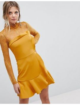 Asos Delicate Lace & Scuba Ruffle Shift Mini Dress by Asos Collection