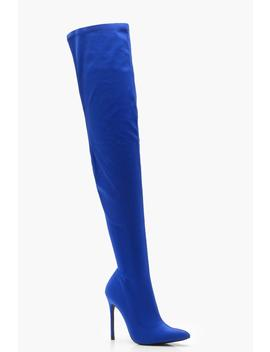 Caitlin Stretch Thigh High Boots by Boohoo