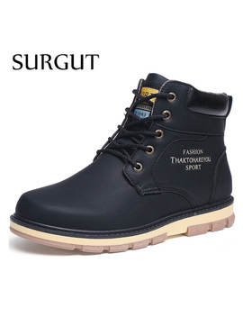 Surgut Brand Hot Newest Keep Warm Men Winter Boots High Quality Pu Leather Wear Resisting Casual Shoes Working Fashion Men Boots by Surgut Official Store