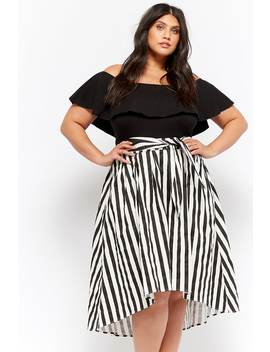 Plus Size Striped High Low Skirt by Forever 21