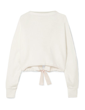 Tie Detailed Cropped Cotton Blend Sweater by Adeam