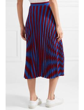 Pleated Striped Crepe Midi Skirt by Maison Margiela