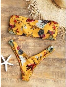 Strapless Floral High Cut Bikini Set   Mustard S by Zaful