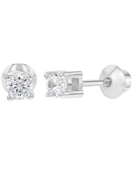 925 Sterling Silver Cz Tiny Round Screw Back Earrings For Toddlers 3mm by In Season Jewelry