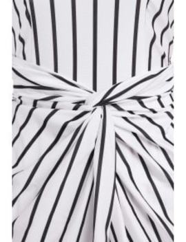 Vertical Stripes Asymmtrical Racerback Maxi Dress   White And Black M by Zaful