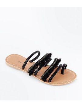 Black Leather Fringe Plait Strap Sandals by New Look