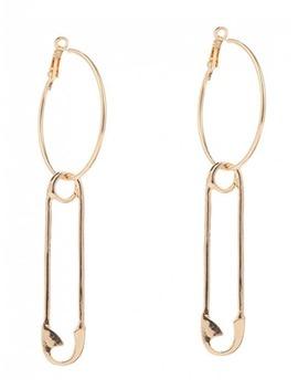 Alloy Pin Circle Hoop Drop Earrings   Golden by Zaful