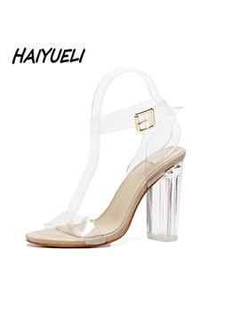 Haiyueli Women Gladiator Sandals Pumps Thick High Heels Shoes Woman Crystal Clear Transparent Ankle Strap Party Wedding Shoes by Dong Ci Ta Ci Store