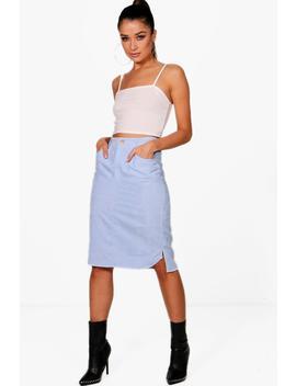 Emily Cord Curved Hem Midi Skirt by Boohoo