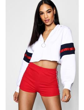 Mandy Zip Front Balloon Sleeve Cropped Hoody by Boohoo
