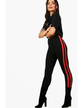 Issy Contrast Side Stripe Leggings by Boohoo