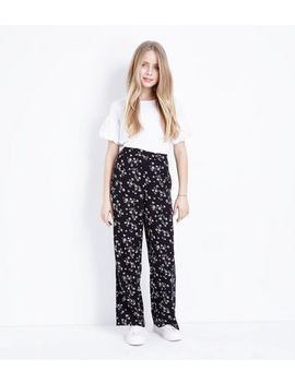 Teens Black Floral Wide Leg Trousers by New Look