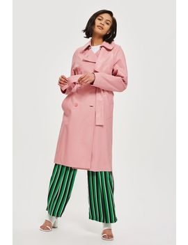 Premium Leather Trench Coat by Topshop