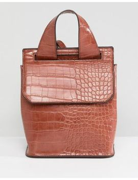 Asos Mini Croc Backpack In Tan by Asos Collection