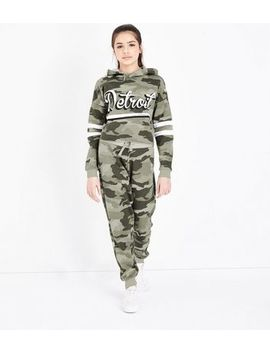 Teens Khaki Camo Joggers by New Look
