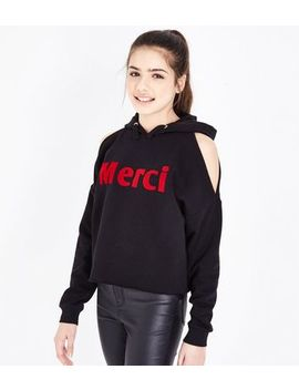 Teens Black Merci Flocked Cold Shoulder Hoodie by New Look
