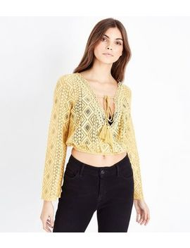 Mustard Yellow Lace Tassel Front Crop Top by New Look