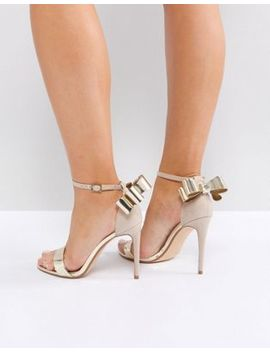 Office Harriet Gold Mix Bow Detail Heeled Sandals by Office