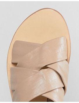 Sol Sana Nora Ecru Leather Slides by  Sol Sana