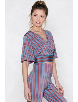 On The Stripe Lines Wrap Top by Nasty Gal
