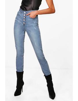"""Tall Fiona Button Through High Waisted 36"""""""" Jeans by Boohoo"""