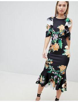 Asos Design Floral Scuba Ruffle Cold Shoulder Pephem Midi Dress by Asos Design