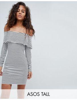 Asos Design Tall Long Sleeve Bardot Bodycon Dress In Stripe by Asos Design