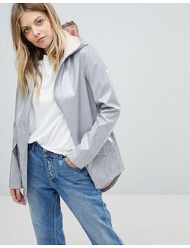 Asos High Shine Rain Jacket With Contrast Hood by Asos Collection