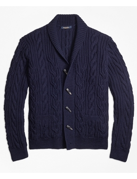 Handknit Twisted Cable Cardigan by Brooks Brothers