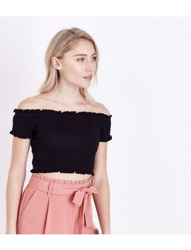 Petite Black Shirred Bardot Crop Top by New Look