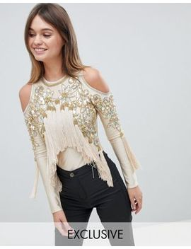 A Star Is Born Cold Shoulder Bodysuit With Tassel Detail by A Star Is Born